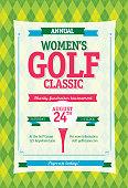 Colorful Women's Golf tournament invitation design template on argyle background
