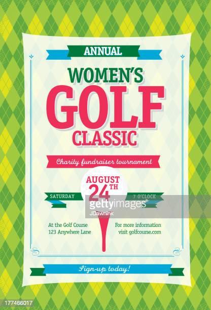 colorful women's golf tournament invitation design template on argyle background - golf tournament stock illustrations, clip art, cartoons, & icons
