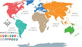 colorful world map by seven continents