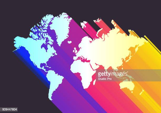 colorful world map - point of view stock illustrations