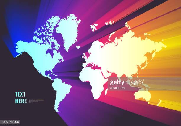 colorful world map - physical geography stock illustrations, clip art, cartoons, & icons