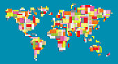 colorful world map with building block bricks