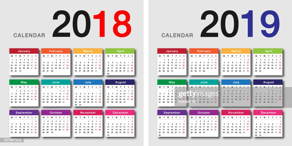 Colorful Year 2018 and Year 2019 calendar horizontal vector design template