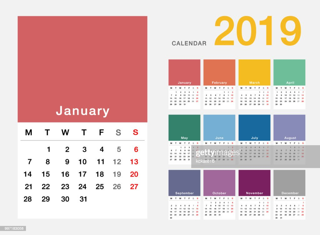 Colorful Year 2019 calendar horizontal vector design template, simple and clean design.