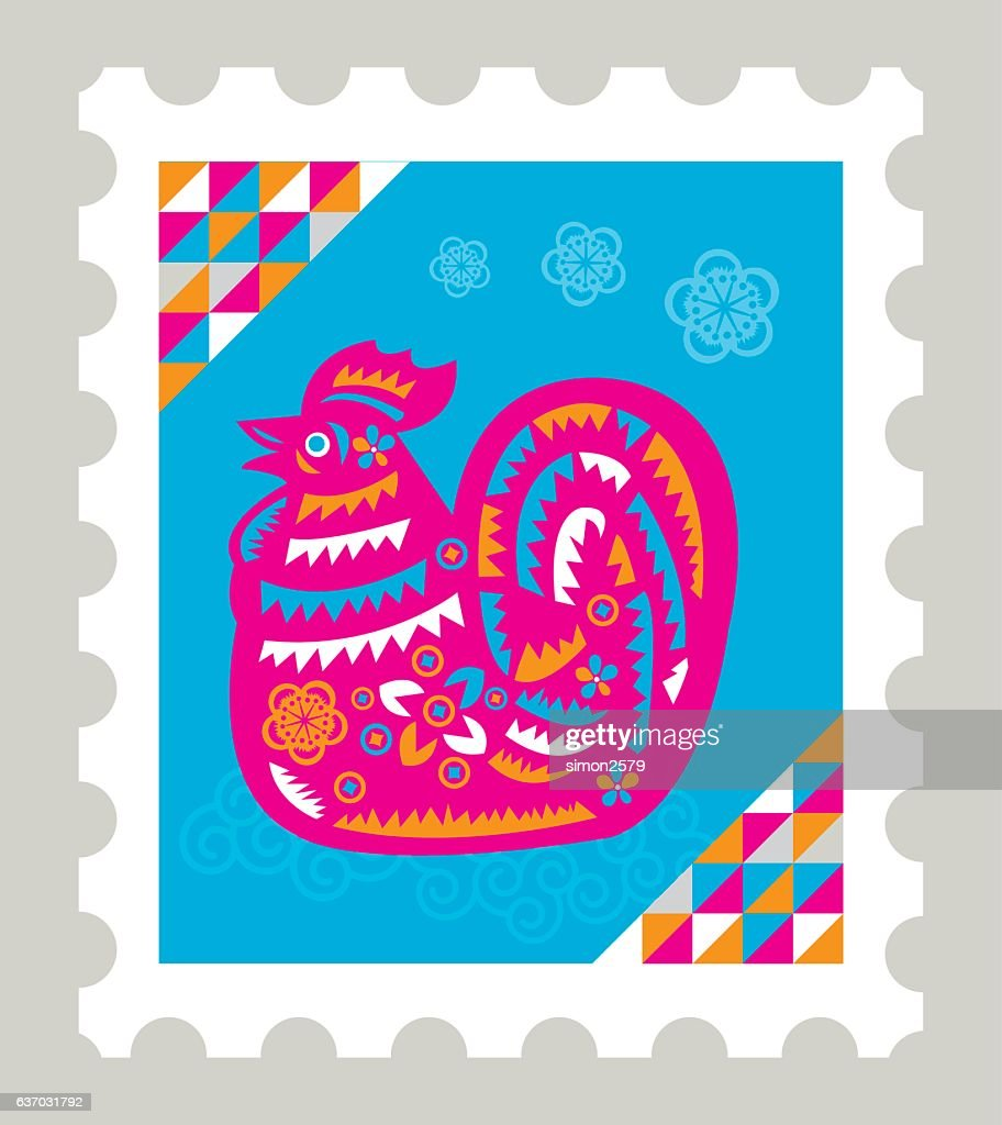 Colorful Year Of Rooster Stamp Vector Art
