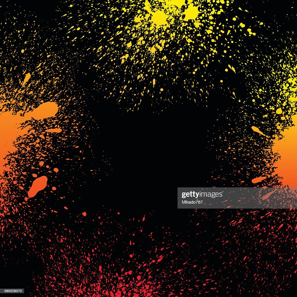 Colorful yellow, orange and red gradient paint splashes background