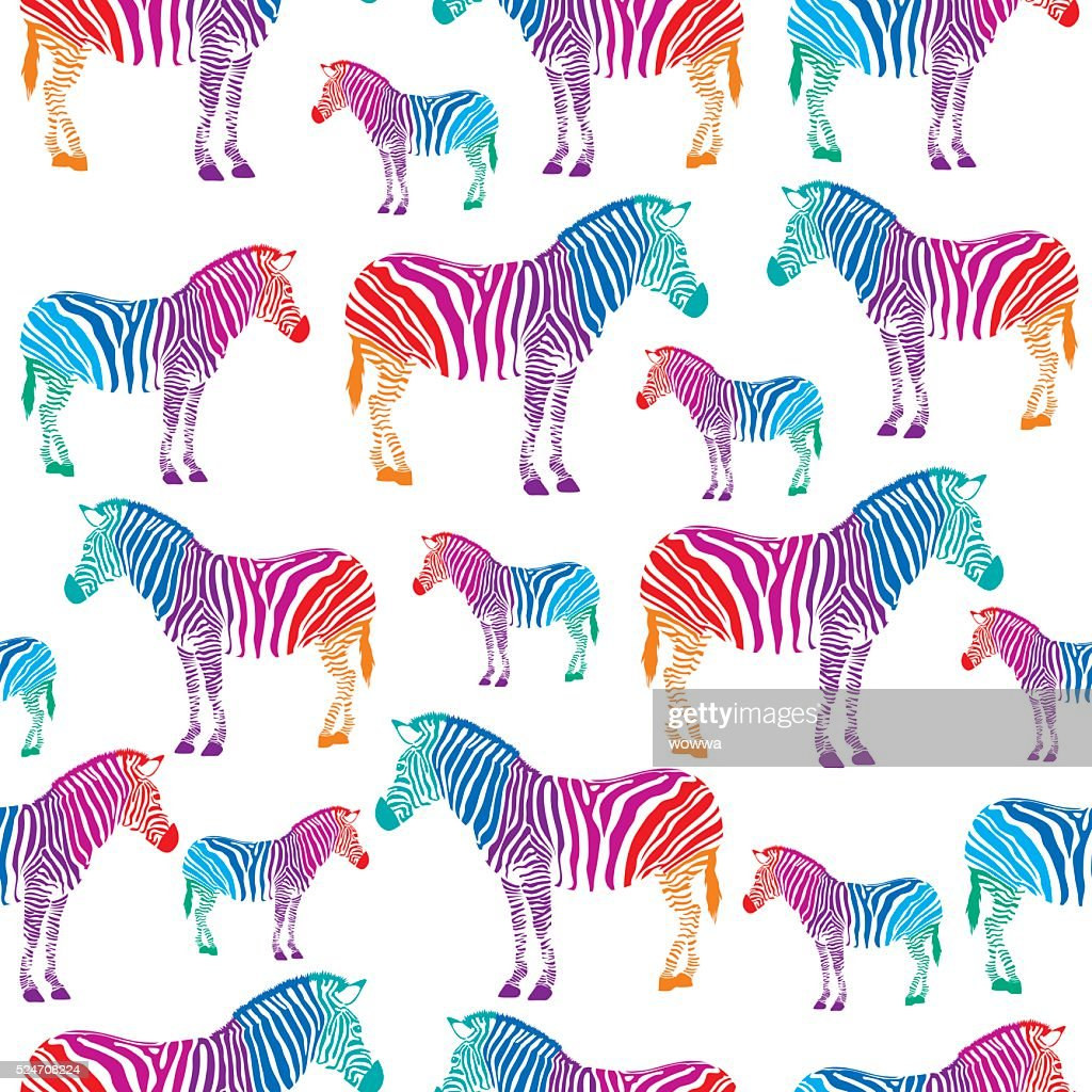 Colorful zebra seamless background.