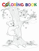 Coloring Book Bear climbs the tree to the honey pot