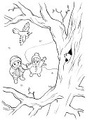 Coloring book. Bird on the tree and two children.