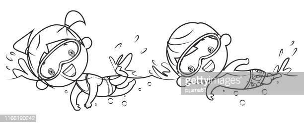 ilustraciones, imágenes clip art, dibujos animados e iconos de stock de libro para colorear, niño y niña natación - natación