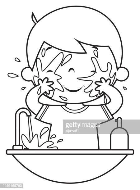 ilustraciones, imágenes clip art, dibujos animados e iconos de stock de libro para colorear, cara de lavado de niño - habitos de higiene