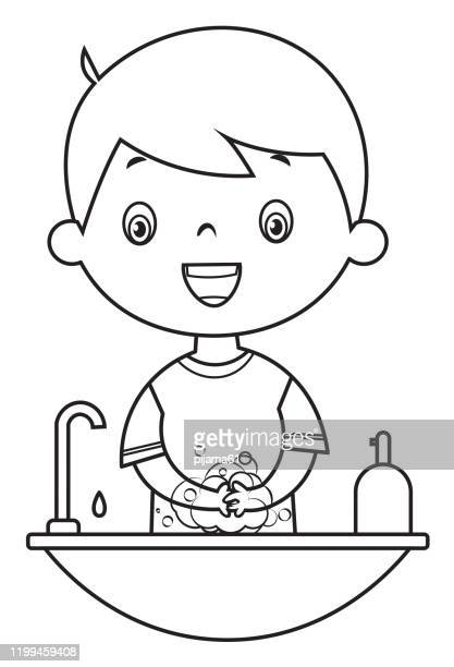 coloring book, boy washing hands - washing hands stock illustrations
