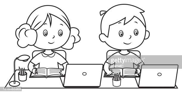 coloring book, children attending to online school class. - attending stock illustrations