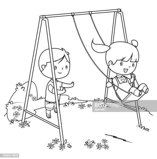 ilustraciones, imágenes clip art, dibujos animados e iconos de stock de libro, para colorear niños jugando en columpio - parque infantil