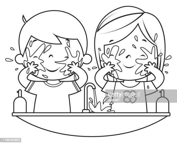 ilustraciones, imágenes clip art, dibujos animados e iconos de stock de libro para colorear, niños lavando la cara - habitos de higiene