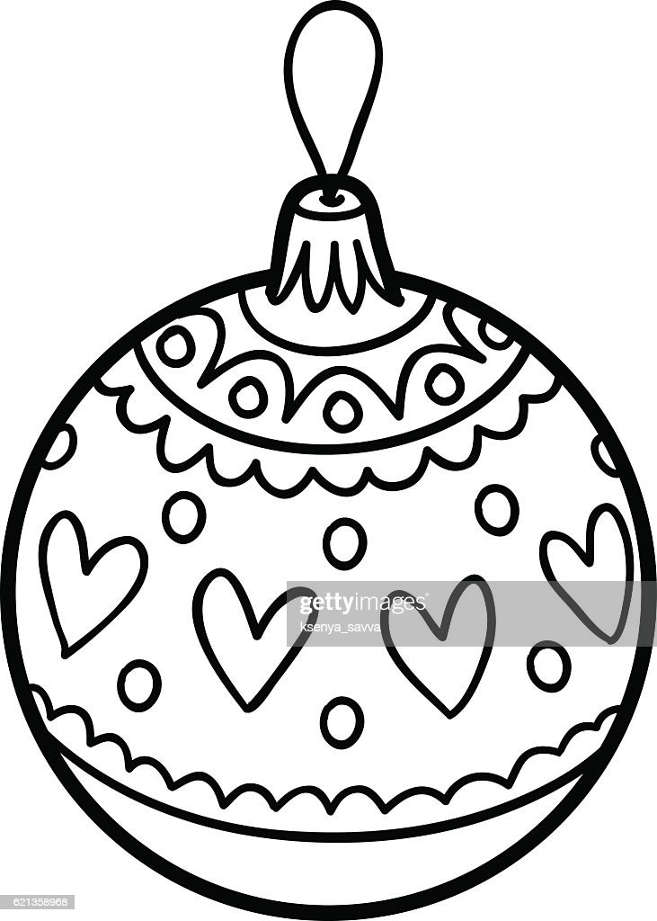 Coloring Book Christmas Tree Toy Ball Vector Art | Getty Images