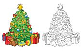 Coloring book. Christmas tree with decorations and gifts.