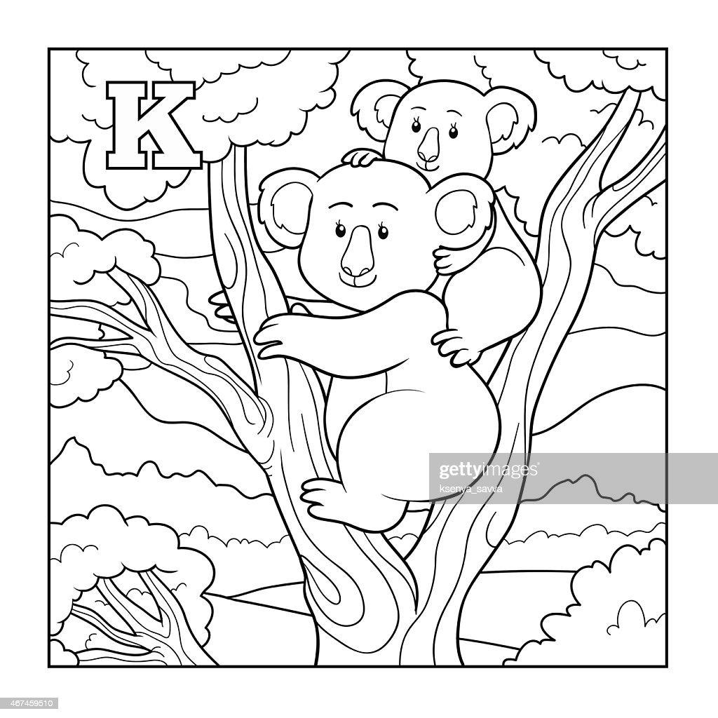 Coloring book (koala), colorless illustration (letter K)