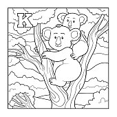 Coloring book (koala), colorless illustration (letter K)