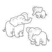 Coloring book (elephants), colorless set