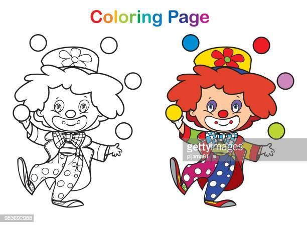 illustrations, cliparts, dessins animés et icônes de livre de coloriage : clown mignon - clown