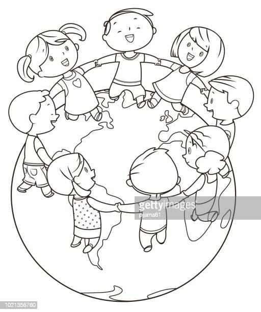 coloring book, cute kids holding hands and dancing around the world - earth day stock illustrations