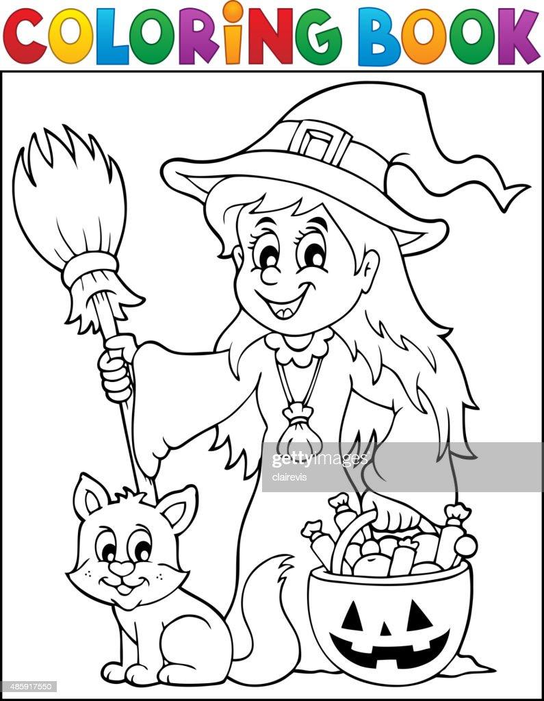 Malbuch Süße Hexe Und Katze Vektorgrafik   Getty Images