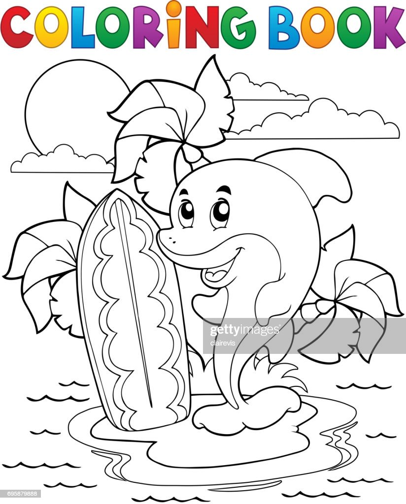 Coloring book dolphin theme 3