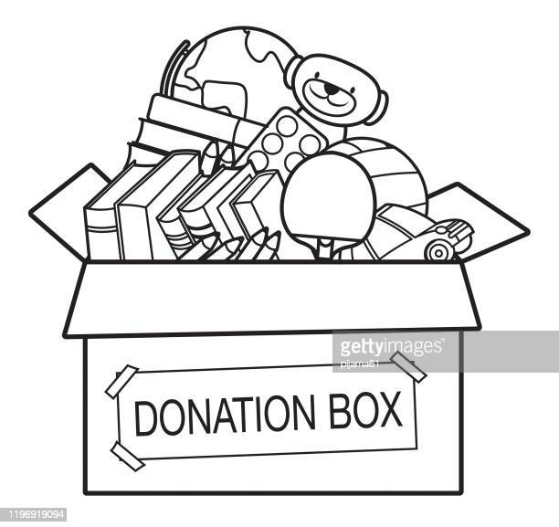 coloring book, donation box full of toys, books, - table tennis racket stock illustrations