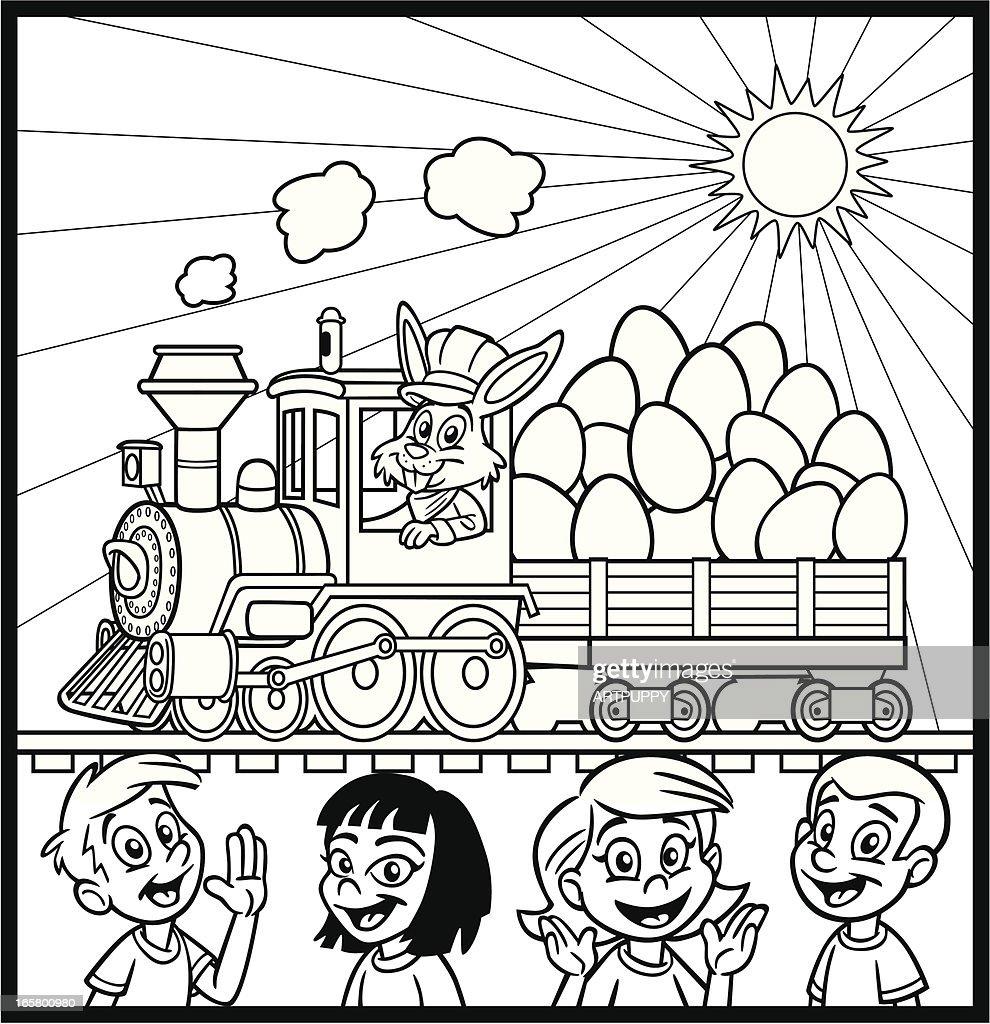 Coloring Book Easter Bunny Train Vector Art