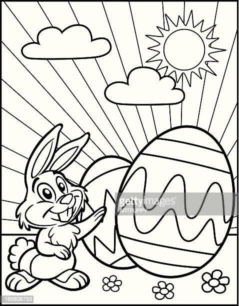 coloring book easter bunny with eggs - easter bunny stock illustrations