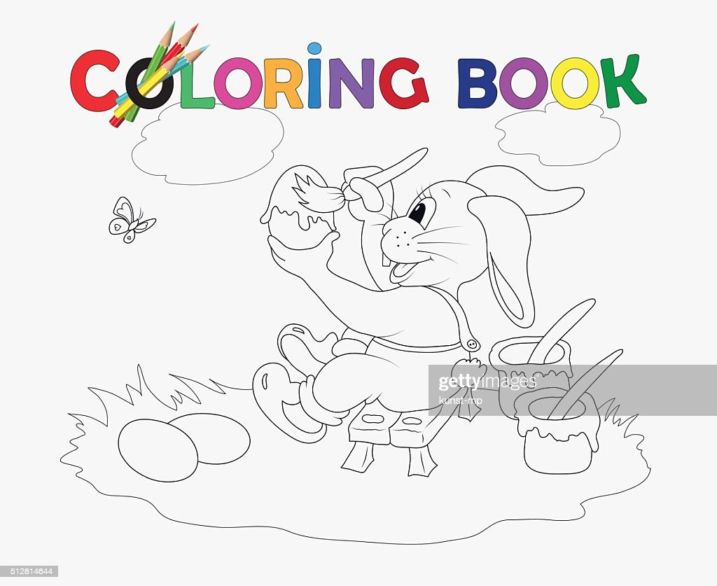 Coloring Book Easter rabbit colored eggs