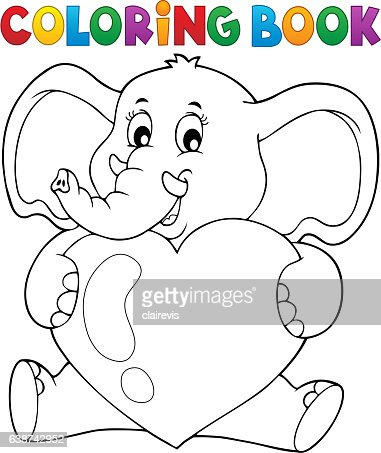 Coloring Book Elephant Holding Heart Vector Art