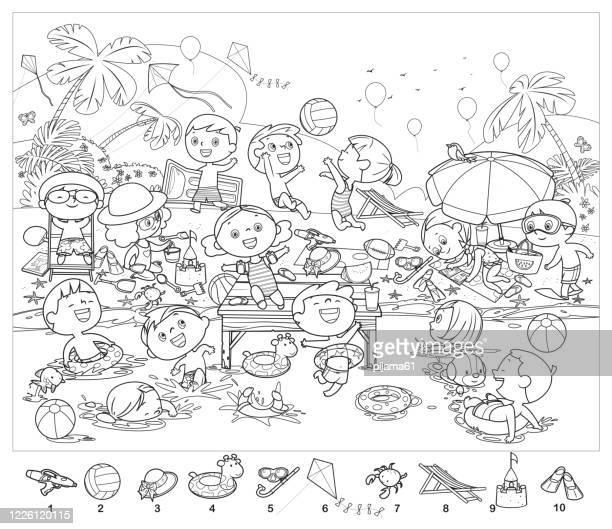 ilustraciones, imágenes clip art, dibujos animados e iconos de stock de libro para colorear, encuentra 10 objetos en la imagen. rompecabezas artículos ocultos. niños felices divirtiéndose en la playa - vóleibol de playa