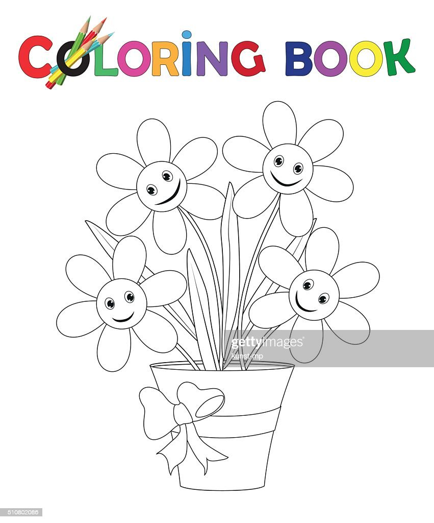 Coloring Book Flowerpot With Flowers And Ribbon Vector Art