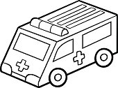 Coloring book for children. Ambulance car