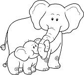 Coloring book for children: elephants