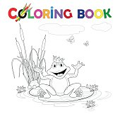 Coloring book, Frog with a crown on the lake