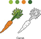 Coloring book: fruits and vegetables (carrot)