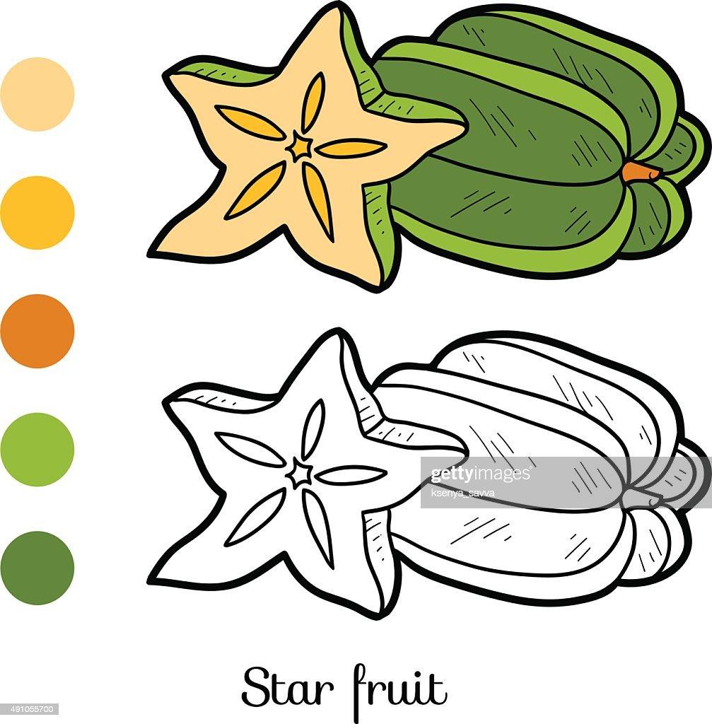 Malbuch Obst Und Gemüse Sterne Obst Vektorgrafik   Getty Images
