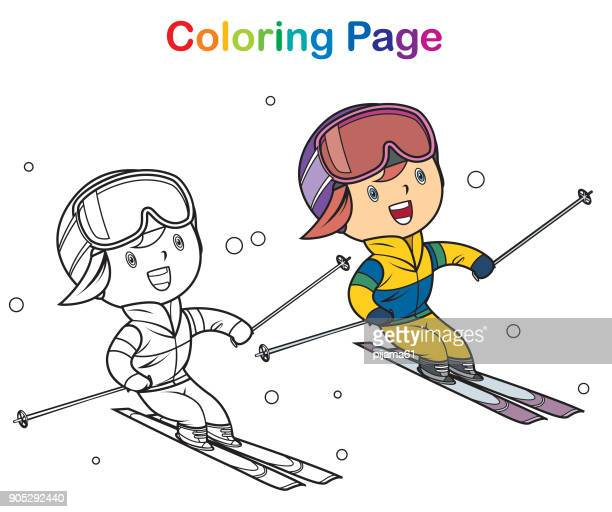 塗り絵: スキーの女の子