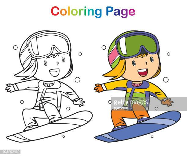 Coloring book: Girl snowboarding