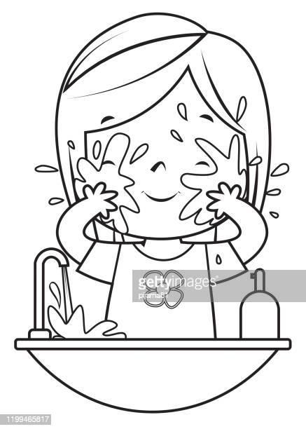 ilustraciones, imágenes clip art, dibujos animados e iconos de stock de libro para colorear, cara de lavado de niñas - habitos de higiene