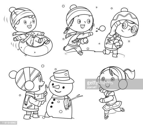 illustrations, cliparts, dessins animés et icônes de livre de coloriage, enfants heureux jouant dans des jeux d'hiver - ski humour