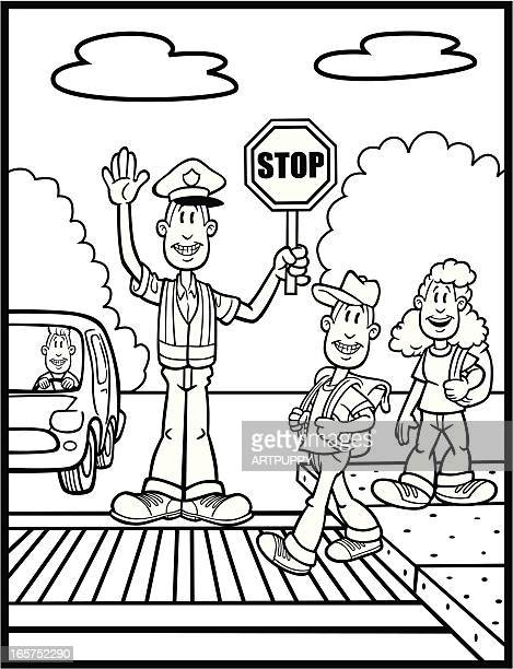 coloring book illustration of crossing guard and kids - crossing sign stock illustrations, clip art, cartoons, & icons