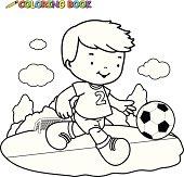 Coloring book kid playing football