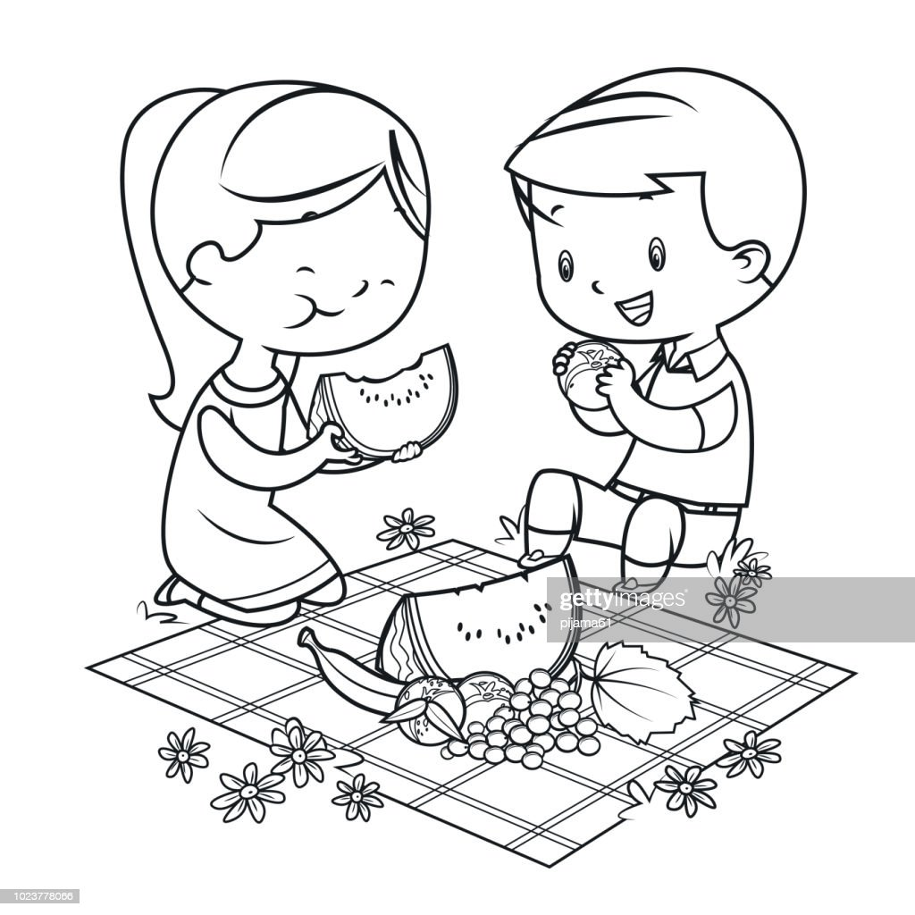Coloring Book Kids Having A Picnic High-Res Vector Graphic ...