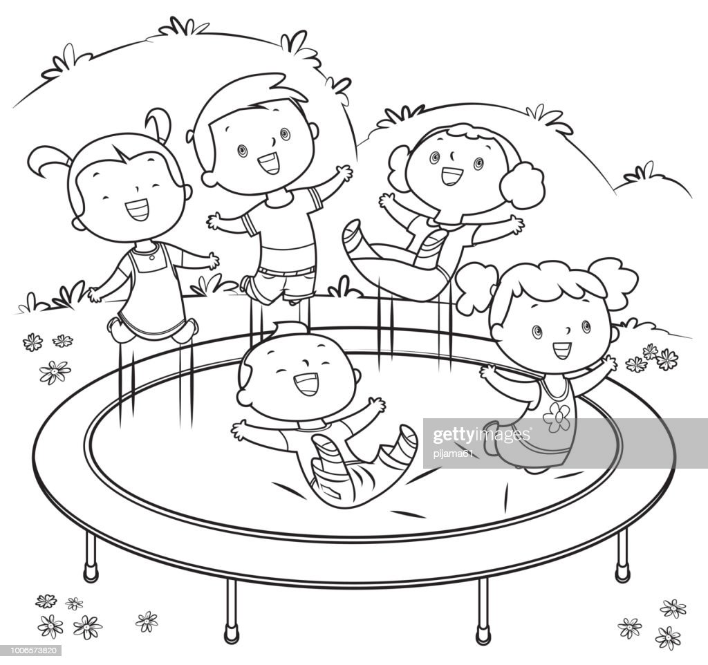 Coloring Book Kids Jumping On Trampoline High-Res Vector Graphic
