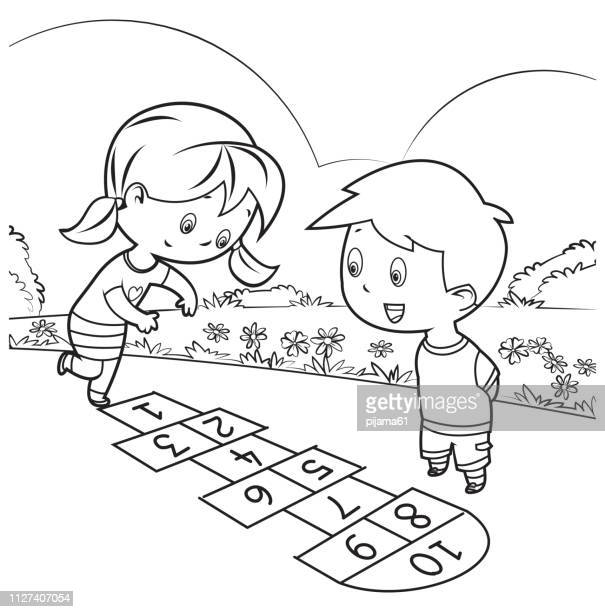 coloring book, kids playing hopscotch - messing about stock illustrations