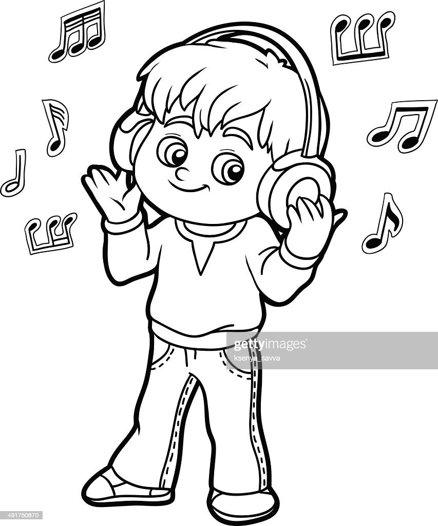 Coloring book: little boy listening to music on headphones